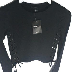 NWT Forever 21 Short Black Side Laced Long Sleeve